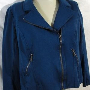 Lane-Bryant-Blue-Asymmetrical-Zipper-Moto Jacket